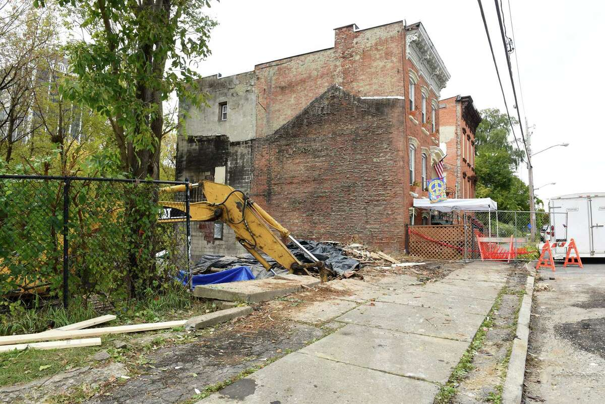 Construction site at 170 Orange St. where the Graham Family used to live Friday Oct. 26, 2018 in Albany, N.Y. The Grahams had their home destroyed last weekend when a city contractor ruined the house while demolishing another. They are staying at a friend's apartment. (Lori Van Buren/Times Union)