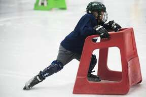 Kids get practice skating and playing hockey during the Try Hockey for Free event on Saturday, Nov. 10, 2018 at Midland Civic Arena. (Katy Kildee/kkildee@mdn.net)