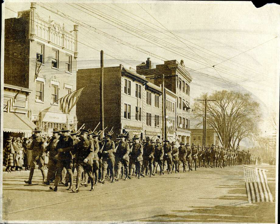 World War I veterans parade on Greenwich Avenue just north of Havemeyer Place Photo: Greenwich Historical Society / Contributed Photo / Greenwich Time Contributed