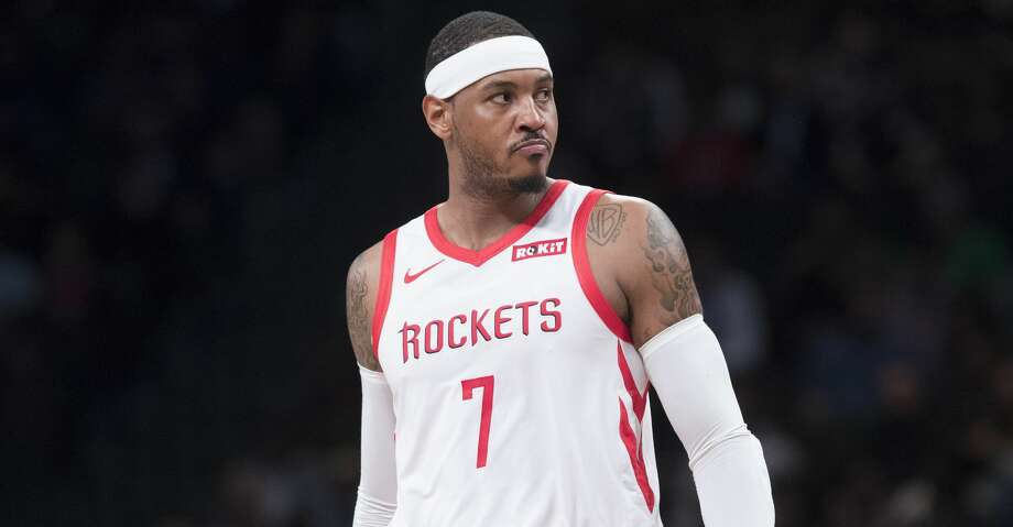 PHOTOS: Rockets game-by-game Houston Rockets forward Carmelo Anthony reacts during the first half of an NBA basketball game against the Brooklyn Nets, Friday, Nov. 2, 2018, in New York. (AP Photo/Mary Altaffer) Browse through the photos to see how the Rockets have fared in each game this season. Photo: Mary Altaffer/Associated Press