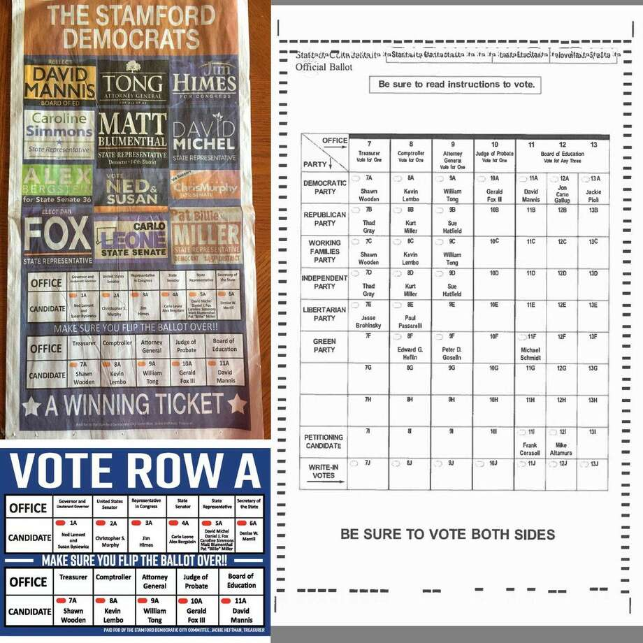 Mailers and advertisements paid for by the Democratic City Committee (left) which left off DCC endorsed candidate Jackie Pioli versus the actual ballot on the right. Pioli was elected to the Board of Education in Stamford, Conn. on Nov. 6, 2018, but DCC members said she was meant to be a placeholder candidate on the ballot. Photo: Contributed Photo / Contributed Photo / Stamford Advocate contributed