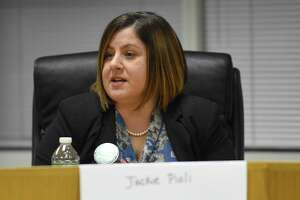 Board of Education candidate Jackie Pioli (D) delivers her opening remarks during the Angela Lorenti Memorial 2018 Board of Education Candidates Forum at the Stamford Government Center on Wednesday, Oct. 24, 2018 in Stamford, Connecticut. The Parent-Teacher Council of Stamford hosted the event where candidates running for BOE stating their positions and responded to questions presented by the PTC.