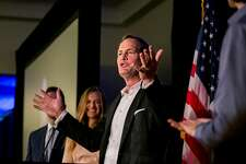 Harley Rouda, a Democratic congressional candidate, speaks to supporters at an election night party in Newport Beach, Calif., Nov. 6, 2018. The Democrats have captured a once-unthinkable win in coastal Orange County as Republican Rep. Dana Rohrabacher was trailing Rouda, a real estate executive and a former Republican, into late Tuesday night. (Sam Hodgson/The New York Times)