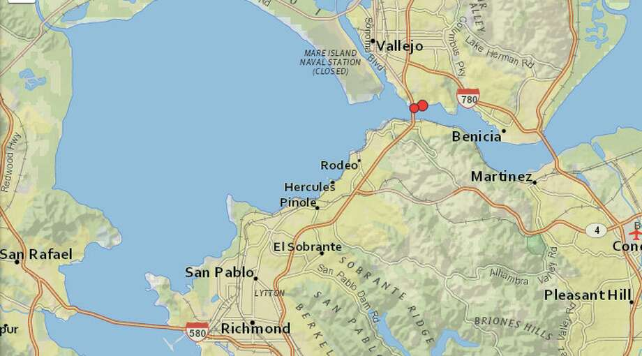 Two earthquakes hit Crockett, Calif. on Saturday afternoon. Photo: USGS