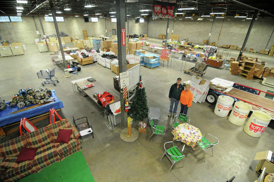 Area Marine Corps Reserve Toys for Tots co-chairs Glenn and Debbie Heimer hope to fill this 15,000-square-foot East Alton warehouse with toys for more than 11,000 Riverbend area children this year. Photo: David Blanchette | For The Telegraph