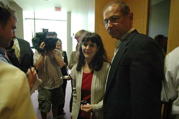 Patty Szostak (Peter Porco's sister) and her husband Michael Szostak speak to the media after the jury pronounced their nephew, Christopher Porco, guilty of second-degree murder and attempted second-degree murder at the Orange County Courthouse in Goshen on Thursday Aug. 10, 2006. Photo: Michael P. Farrell