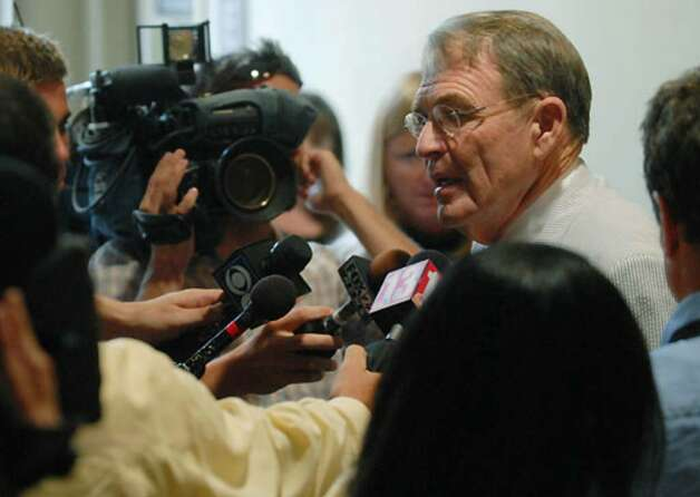 Terence Kindlon, Christopher Porco's defense attorney, talks with the media following his client's conviction for murder at the Orange County Courthouse in Goshen on Thursday, Aug. 10, 2006. Photo: Michael P. Farrell