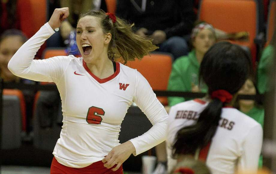 The Woodlands outside hitter Courtney Heiser (6) celebrates a point during the third set of a Region II semifinal match at Johnson Coliseum, Friday, Nov. 9, 2018, in Huntsville. Photo: Jason Fochtman, Houston Chronicle / Staff Photographer / © 2018 Houston Chronicle