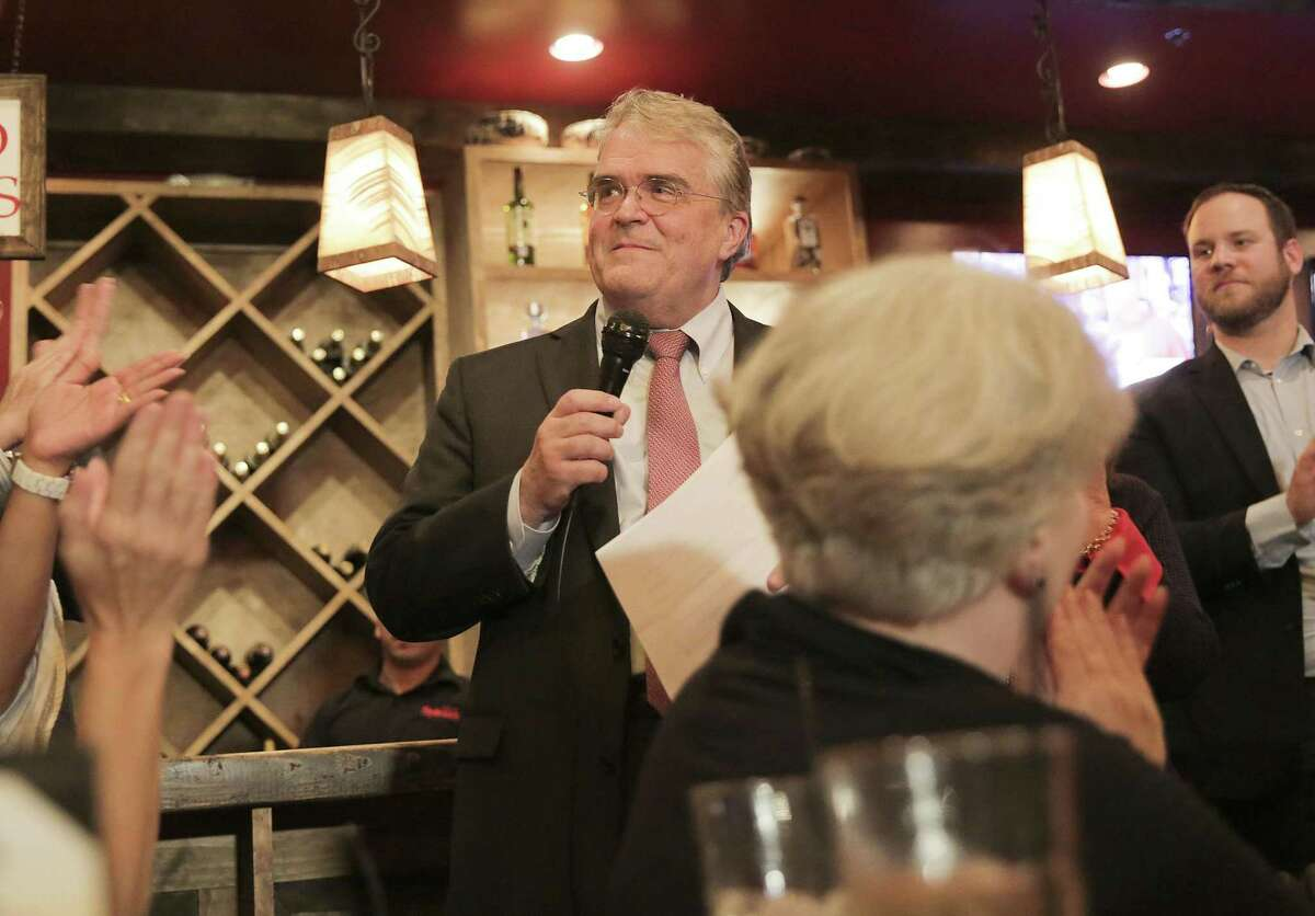 U.S. Rep. John Culberson addresses his supporters at his watch party at Sylvia?'s Enchiladas in Houston on Tuesday, Nov. 6, 2018. Culberson lost his seat to Democratic challenger Lizzie Pannill Fletcher.