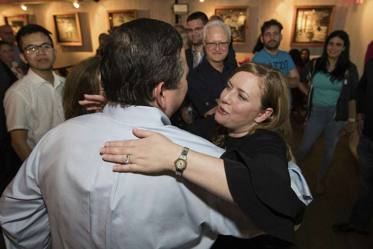 Democrat Lizzie Pannill Fletcher greets her supporters as they celebrate her win over John Culberson in the race or the 7th Congressional District seat in the House of Representatives on Wednesday, Nov. 7, 2018, in Houston.