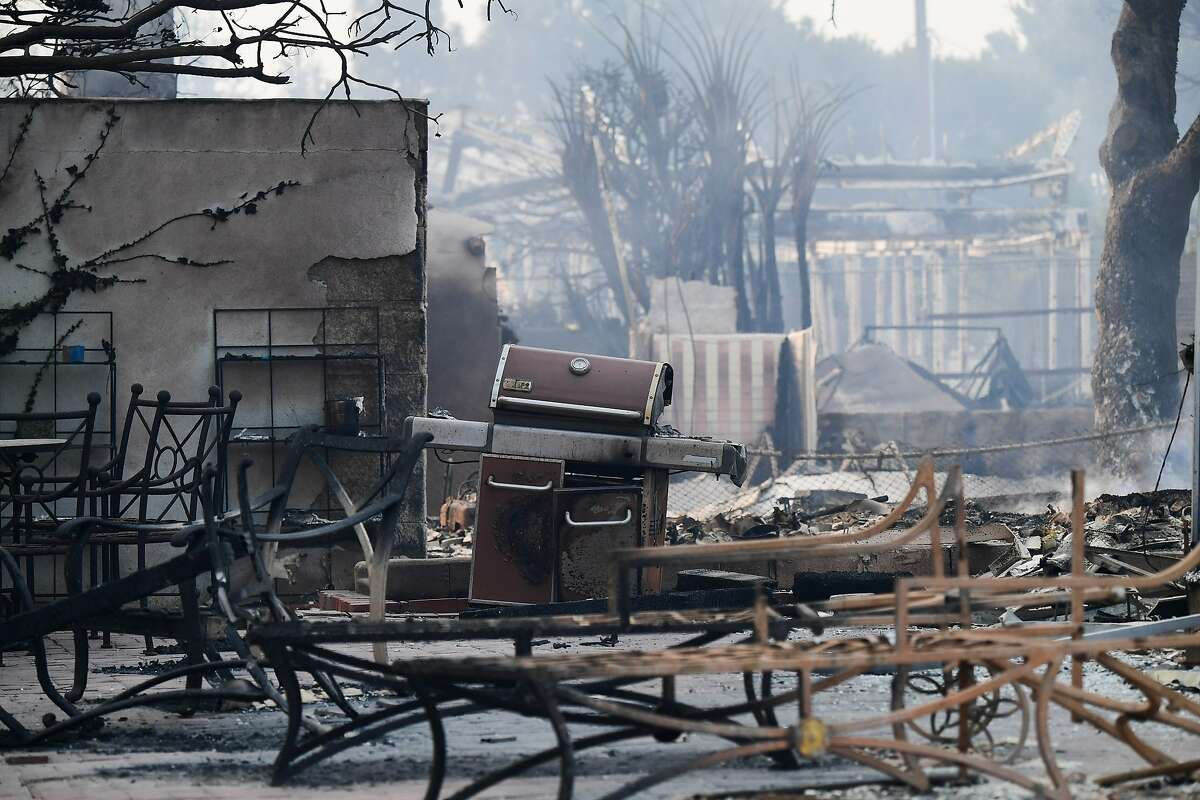 Property destroyed by the Woolsey Fire smolders in the Point Dume neighborhood of Malibu, California, on November 10, 2018 after the fire tore through the neighborhood.