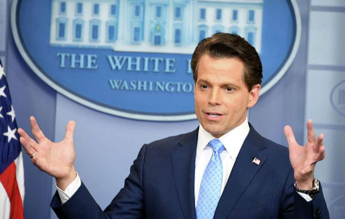 This file photo taken on July 21, 2017 shows Anthony Scaramucci, then President Donald Trump's new White House communications director, during a news briefing at the White House in Washington, D.C.