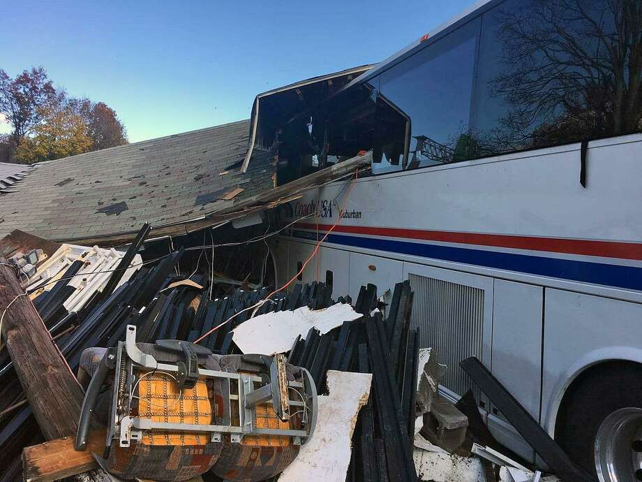 Five were injured when a bus crashed into a buiding in West Haven, Conn., on Nov. 10, 2018. Photo: Contributed Photo / Contributed Photo / Connecticut Post Contributed