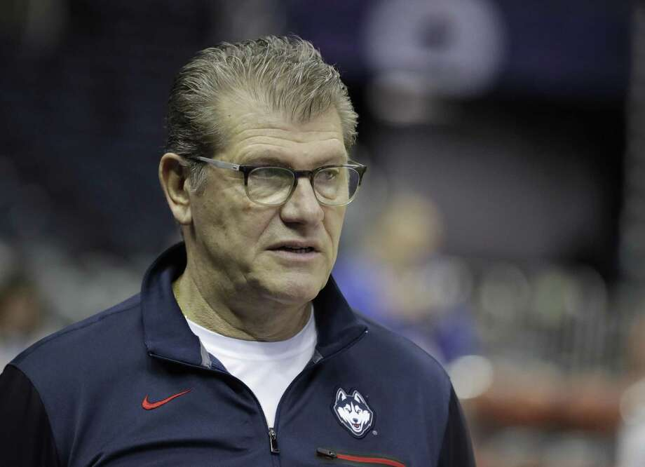 UConn head coach Geno Auriemma watches during a practice session for the women's NCAA Final Four college on March 29 in Columbus, Ohio. Photo: Darron Cummings / AP / Copyright 2018 The Associated Press. All rights reserved.