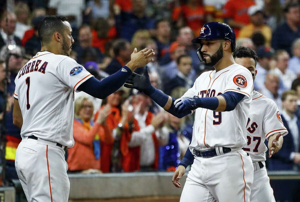 Marwin Gonzalez, right, figures to be a highly-sought free agent this winter and is expected to test the open market.