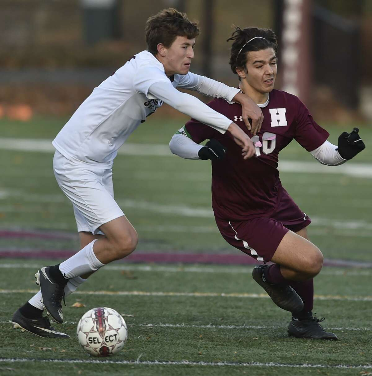 New Haven, Connecticut, November 10, 2018: First-half action during the Hopkins School vs. St. Luke's in the Fairchester League boys soccer tournament final Saturday at Hopkins. Hopkins defeated St. Luke's 4-0.