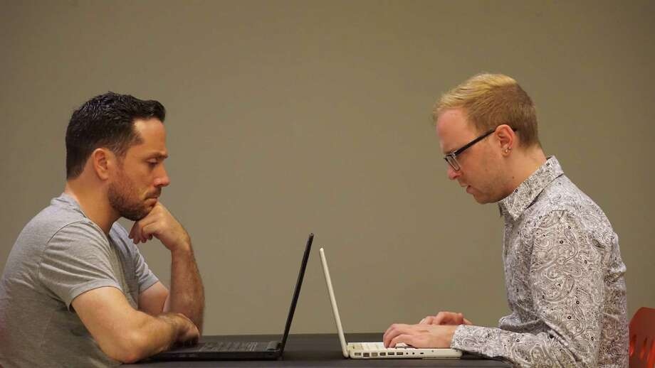 "Ian LaChance, left, and Nick Bosanko in the Creative License production of ""From White Plains."" Photo: Provided Photo"