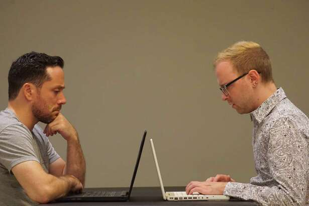 """Ian LaChance, left, and Nick Bosanko in the Creative License production of """"From White Plains."""""""