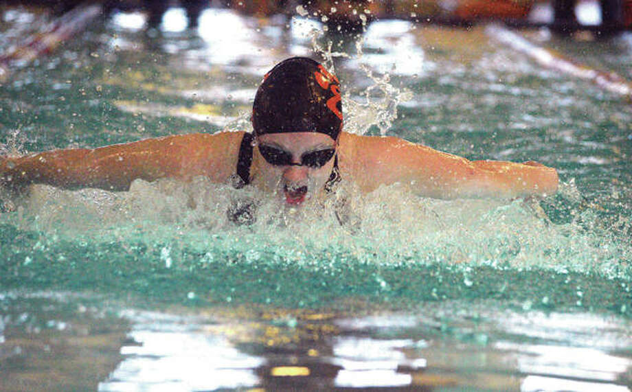 Edwardsville sophomore Allison Naylor swims in the 100-yard butterfly on Saturday during the Springfield Sacred Heart-Griffin Sectional at Eisenhower Pool. Photo: Scott Marion/Intelligencer