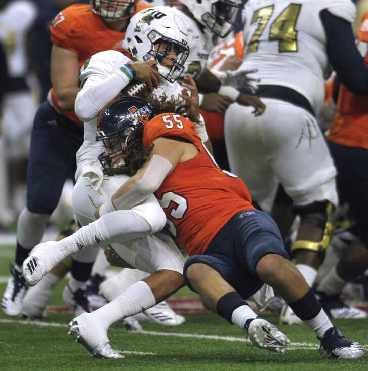 UTSA linebacker Josiah Tauaefa, tackling FIU quarterback Christian Alexander last week, has been a bright spot in an otherwise tough season.