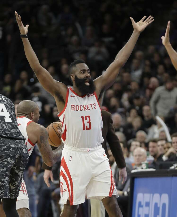 Houston Rockets guard James Harden (13) reacts after he was called for a foul late in the second half of an NBA basketball game against the San Antonio Spurs, Saturday, Nov. 10, 2018, in San Antonio. (AP Photo/Eric Gay) Photo: Eric Gay/Associated Press