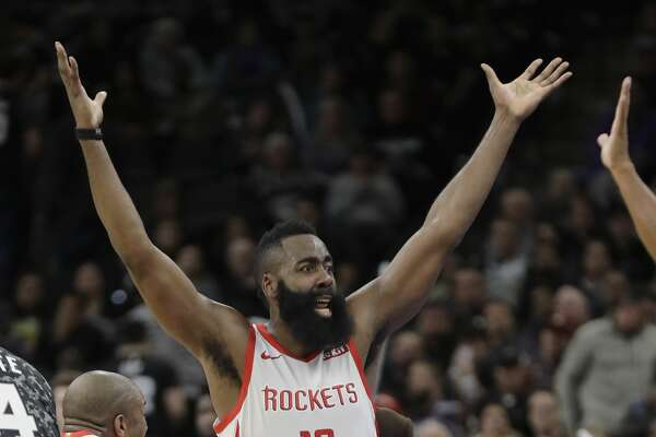 Houston Rockets guard James Harden (13) reacts after he was called for a foul late in the second half of an NBA basketball game against the San Antonio Spurs, Saturday, Nov. 10, 2018, in San Antonio. (AP Photo/Eric Gay)