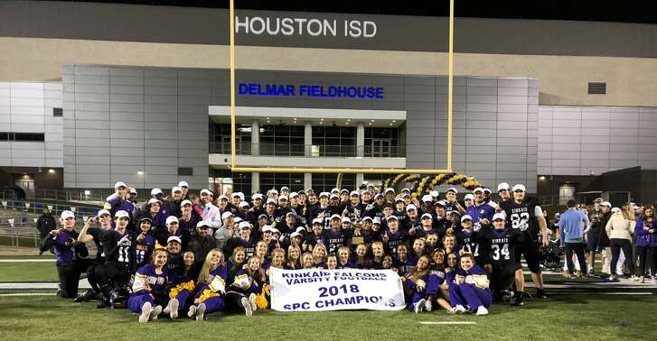The Kincaid Falcons celebrate winning the SPC 4A championship over the Episcopal Knights at Delmar Stadium, Houston, TX, 2018
