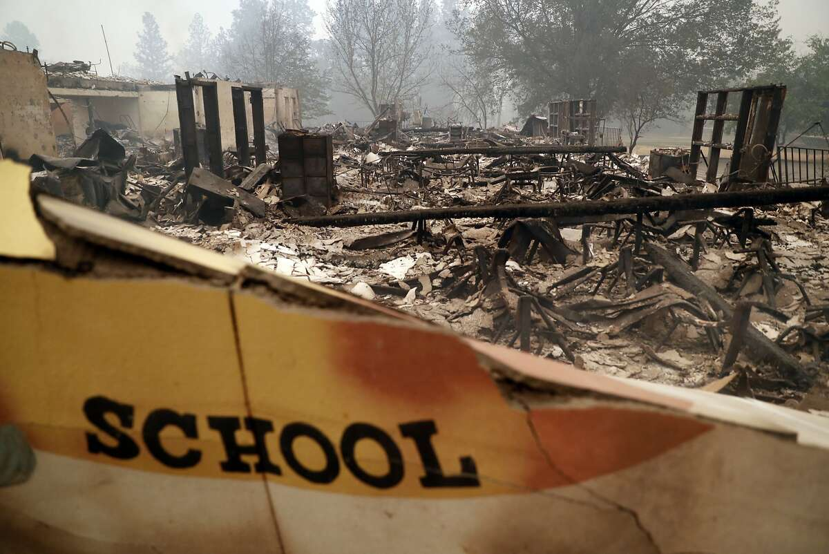 Remains of the Paradise Elementary School after being gutted by the Camp Fire in Paradise, Calif. on Friday, November 9, 2018.