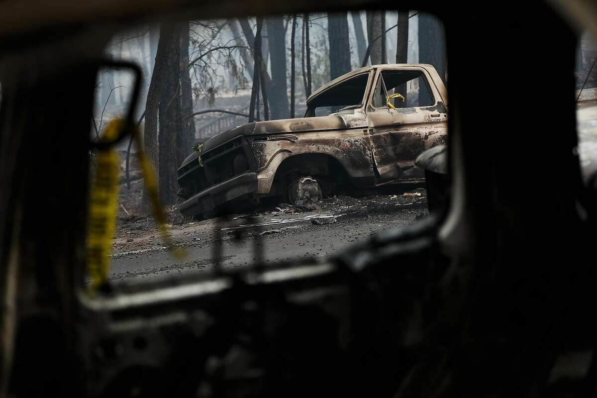 Destroyed cars on Pearson Road after the Camp Fire tore through Paradise, Calif. on Saturday, Nov. 10, 2018.