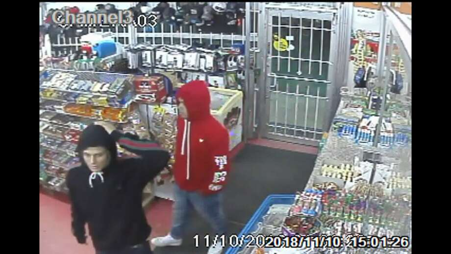 Police are asking for the pubilc's help in identifying the men accused of trying to rob a store and then fatally shooting the clerk. Photo: Metro Video