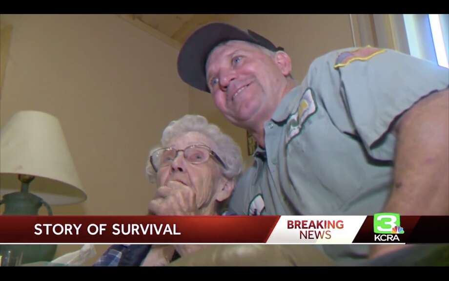 Margaret Newsum was rescued from the encroaching Camp Fire by her garbageman, Dane Ray Cummings. Photo: KCRA