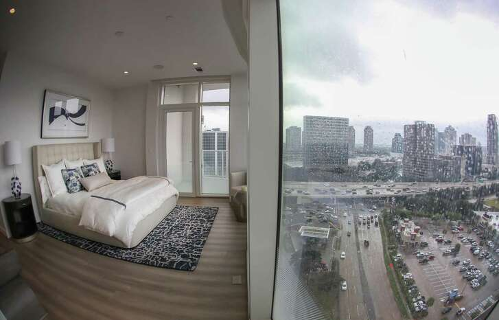 A master bedroom in the new luxury condo tower Arabella Friday, Nov. 9, 2018, in Houston.