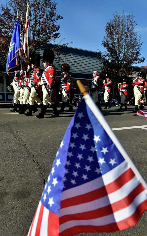 Branford, Connecticut, November 11, 2018:  The Second Company Governor's Foot Guard of Connecticut marches on Main Street in Branford during the Branford Veterans Day Ceremony and Veterans Day Parade Sunday afternoon in Branford. Photo: Peter Hvizdak, Hearst Connecticut Media / New Haven Register
