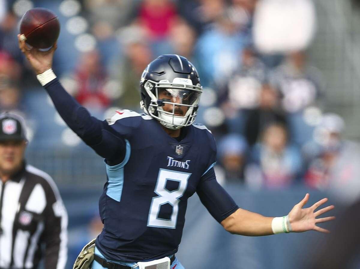 Titans quarterback Marcus Mariota engineered a 34-10 upset of the Patriots on Sunday.