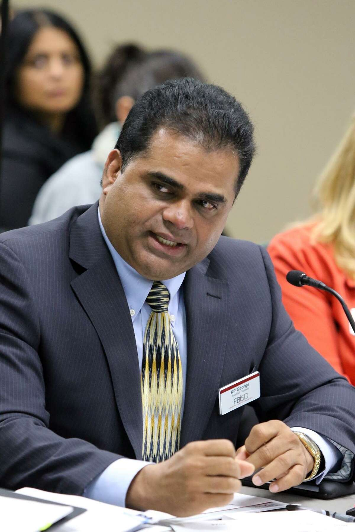Former Fort Bend ISD Trustee KP George asks questions about the changes proposed to the feeder patterns and attendance boundaries of Fort Bend ISD schools in this file photo.