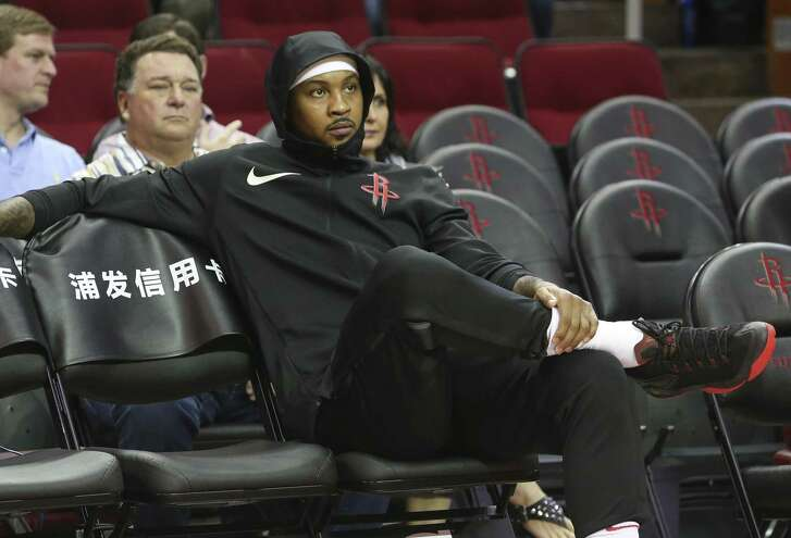 Carmelo Anthony, pictured at Toyota Center on Oct. 26, missed his second consecutive game Sunday night with an illness.