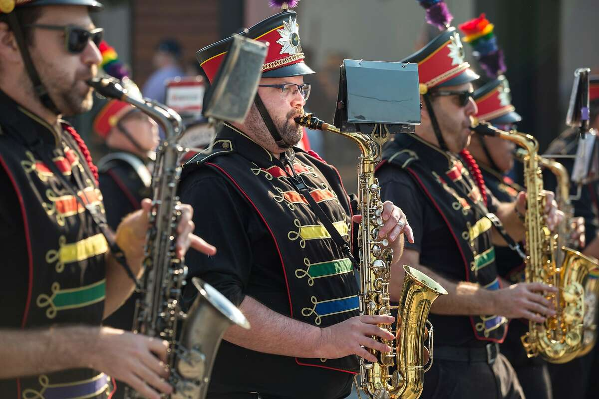 Members of the San Francisco Lesbian/Gay Freedom Band perform during the Veterans Day Parade which celebrates the 100th Anniversary of the ending of World War I on Sunday, November 11, 2018 in San Francisco, Calif.