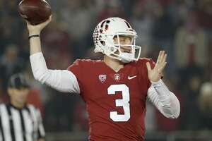 CORRECTS DATE - Stanford quarterback K.J. Costello throws a pass against Oregon State in the first half during an NCAA college football game on Saturday, Nov. 10, 2018, in Stanford, Calif. (AP Photo/Tony Avelar)