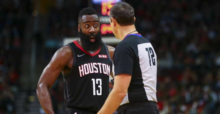 Houston Rockets guard James Harden (13) reacts after not getting a foul call in his favor after shooting a three-pointer against Indiana Pacers forward Bojan Bogdanovic (44) during the fourth quarter of the NBA game at Toyota Center Sunday, Nov. 11, 2018, in Houston. The Rockets won 115-103.
