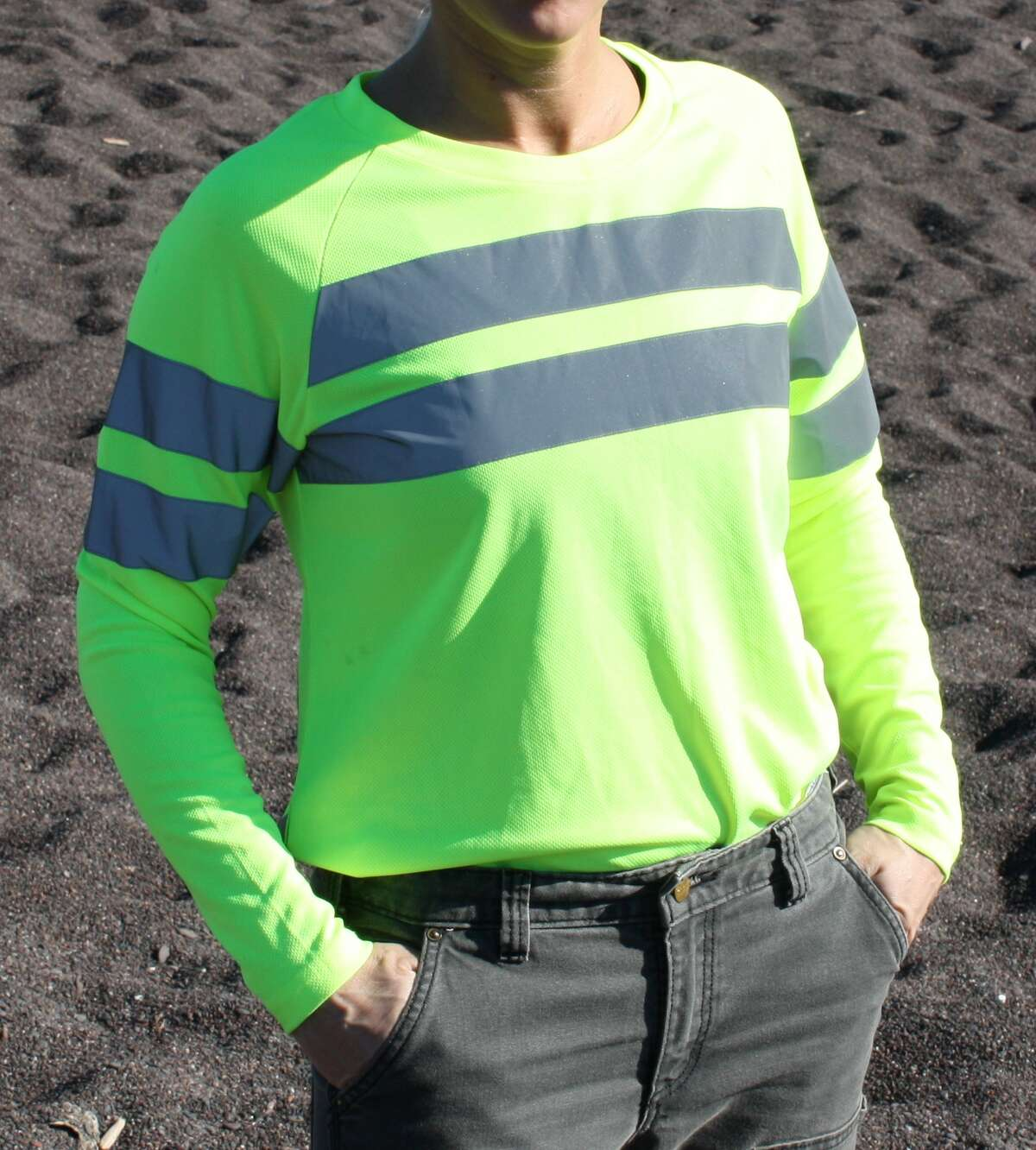 High-visibility long-sleeve work shirt with UV protection and reflective tape available through SeeHerWork.