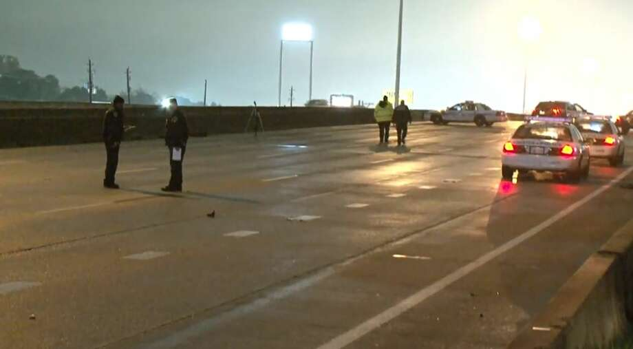 A Pedestriand After A Crash On I 45 And West Mount Houston Road On