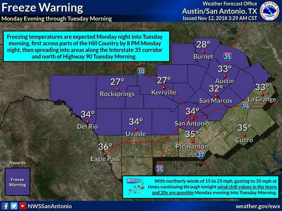 A freeze warning was issued by the National Weather Service as the first freeze of the season is expected on Monday night. Photo: National Weather Service