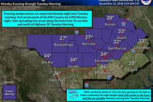 A freeze warning was issued by the National Weather Service as the first freeze of the season is expected on Monday night.