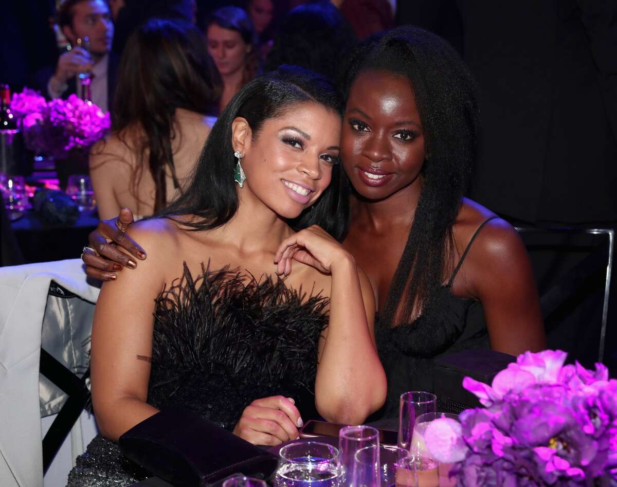 SANTA MONICA, CA - NOVEMBER 11: 2018 E! PEOPLE'S CHOICE AWARDS -- Pictured: (l-r) Actors Susan Kelechi Watson and Danai Gurira pose during the 2018 E! People's Choice Awards held at the Barker Hangar on November 11, 2018 -- NUP_185072 -- (Photo by Christopher Polk/E! Entertainment/NBCU Photo Bank via Getty Images)