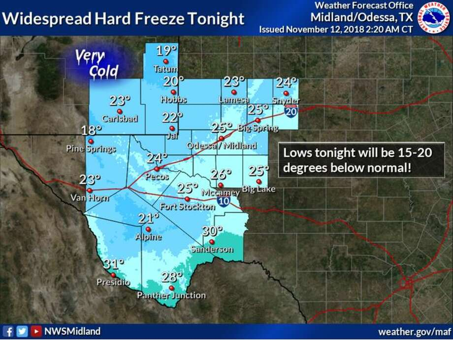 A cold surface high will ease south over the region tonight and drop temperatures 15-20 degrees below normal. A hard freeze is expected to occur over most of the forecast area.