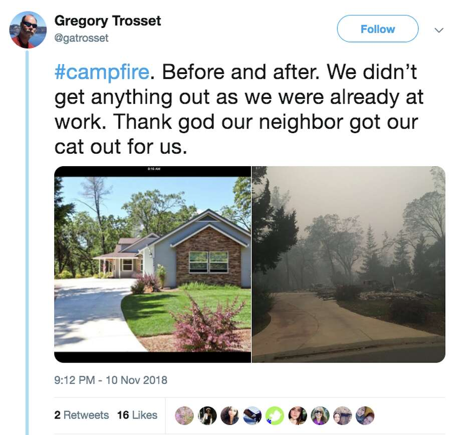Twitter user @gotrosset posted an image of his home before and after it destroyed in the Camp Fire in Paradise, Calif. Photo: @gatrosset