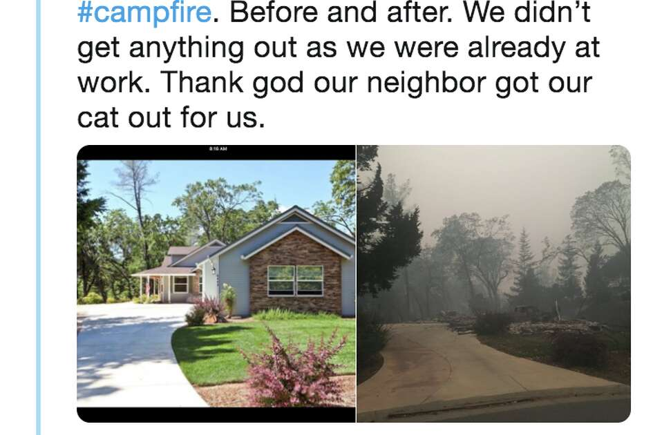 Twitter user @gotrosset posted an image of his home before and after it destroyed in the Camp Fire in Paradise, Calif.