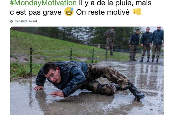 """""""There is rain, but it does not matter,"""" the French army said Monday on Twitter, alongside a photo of a rain-soaked recruit crawling through an obstacle. """"We remain motivated."""""""