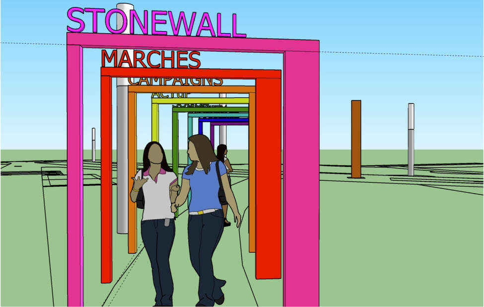 The concept renderings of the proposed Pride Installation in Schenectady.