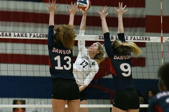 Clear Creek senior middle blocker Allie Garland (17) has been selected the most valuable player of the District 24-6A volleyball team.